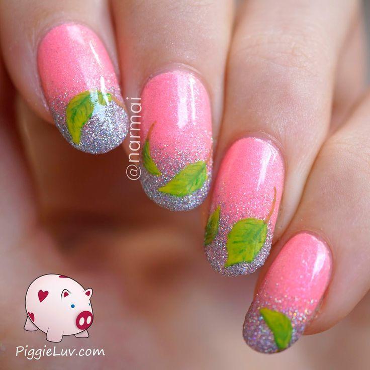 زفاف - Freehand Spring Leaves Nail Art