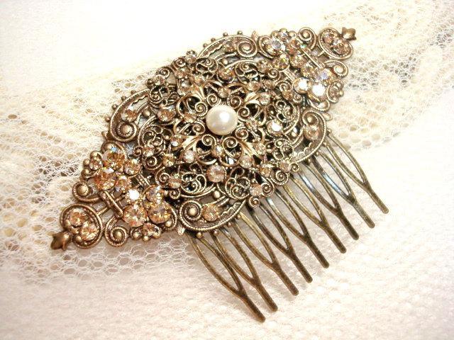 Mariage - Vintage bridal hair comb, wedding hair comb, fascinator, Swarovski golden shadow crystals and Swarovski ivory pearl, wedding hair