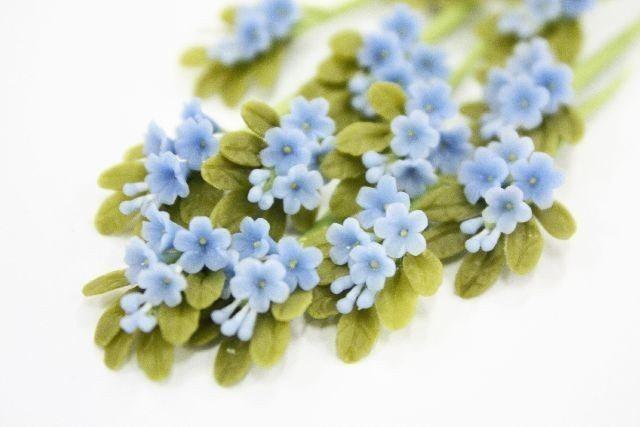 Mariage - Miniature Polymer Clay Flowers Supplies Forget Me Not 3 bunches