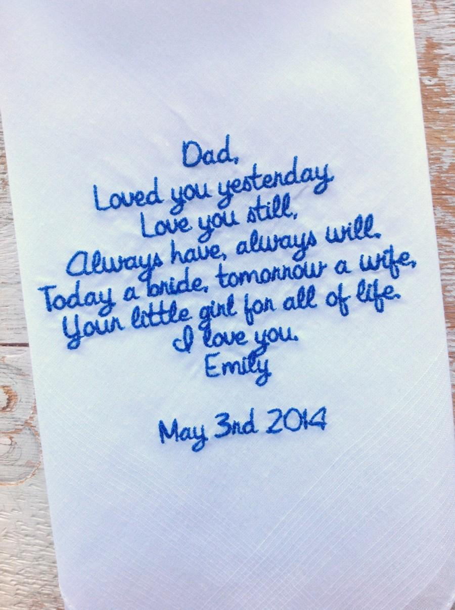 Wedding Day Gift For Father Of The Bride : Wedding - DAD from BRIDE Wedding heirloom handkerchief custom ...