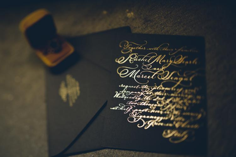 Wedding Invitation Hand Calligraphy Gold Foil On Museum