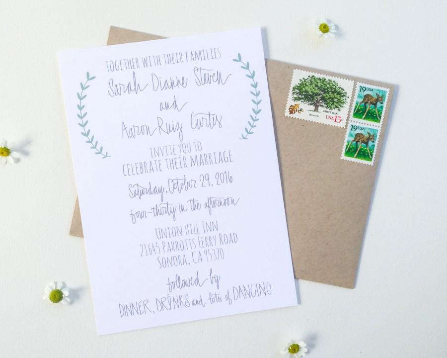 Mariage - Laurel Wedding Invitation - PRINTABLE Wedding Invitation - Wedding Invitation Suite - Hand Lettered Invitation - Laurel