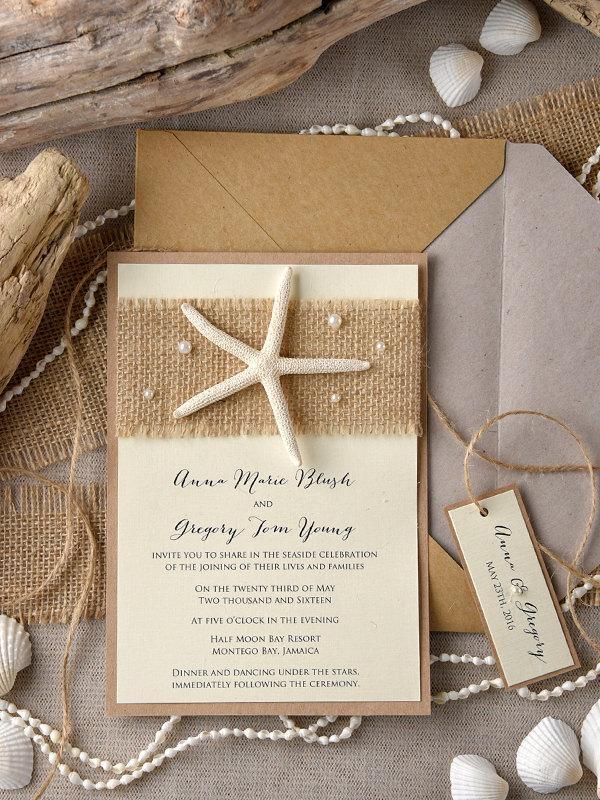 Hochzeit - Tropical Beach Wedding Invitations (20), Starfish Invitations, Destination Invitation, FingerStarfish Invitations,