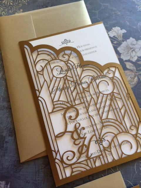 Wedding - Laser Cut Wedding Invitations, Monogram Art Deco Pocket Invitations, Roaring 20s Custom Personalized Invitations, Die Cut