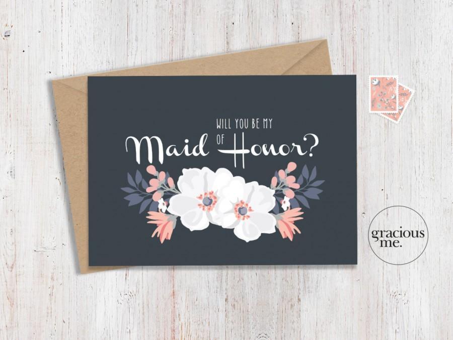 زفاف - Maid of Honor Card 'Will You Be My Maid of Honor' - Wedding Card, Calligraphy - Blue