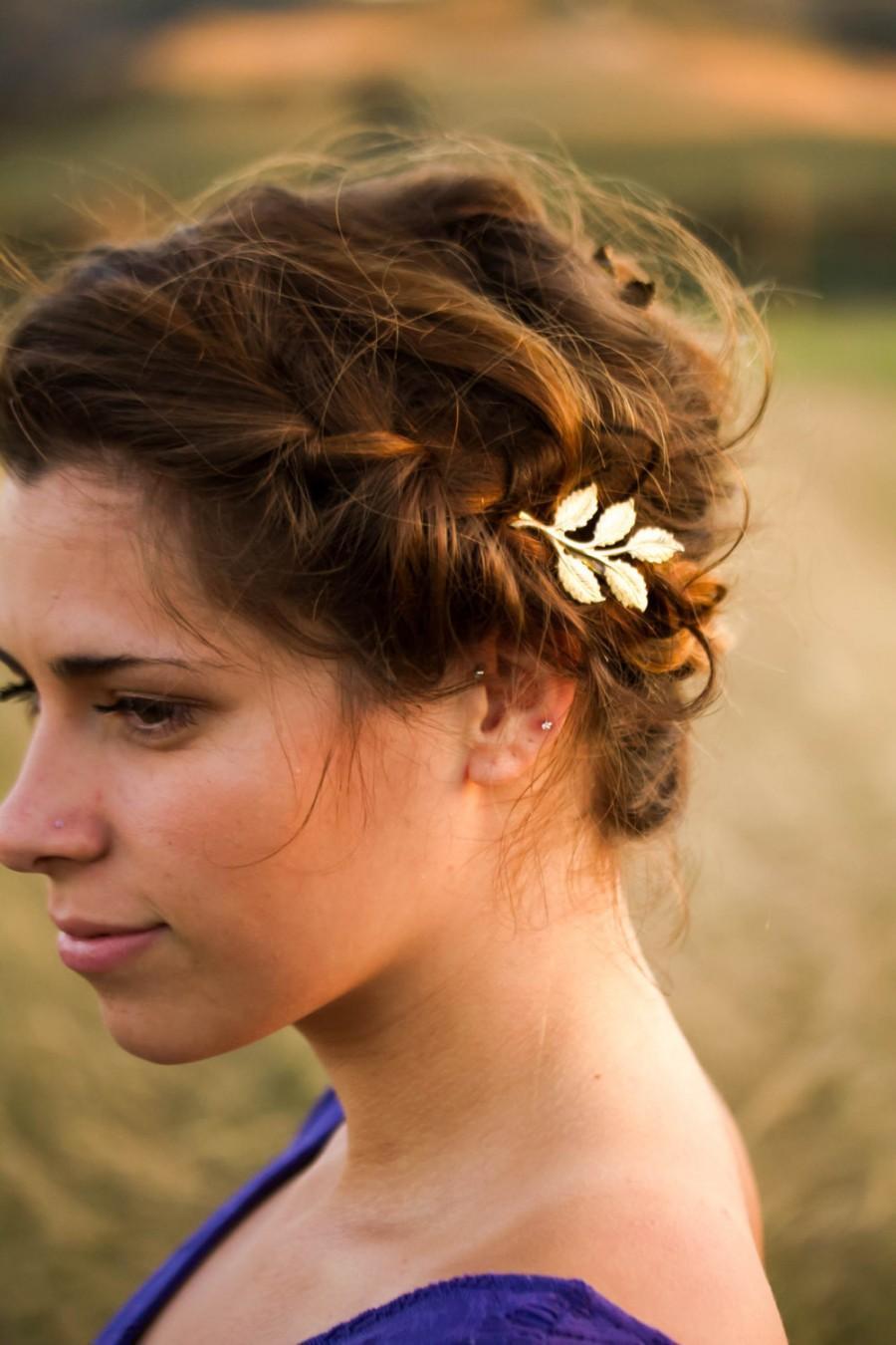 Mariage - Grecian Leaf Hair Pin Greek Hair Clip Pin Goddess Barrette Woodland Wedding Bridal Hair Clip Gold Barrette