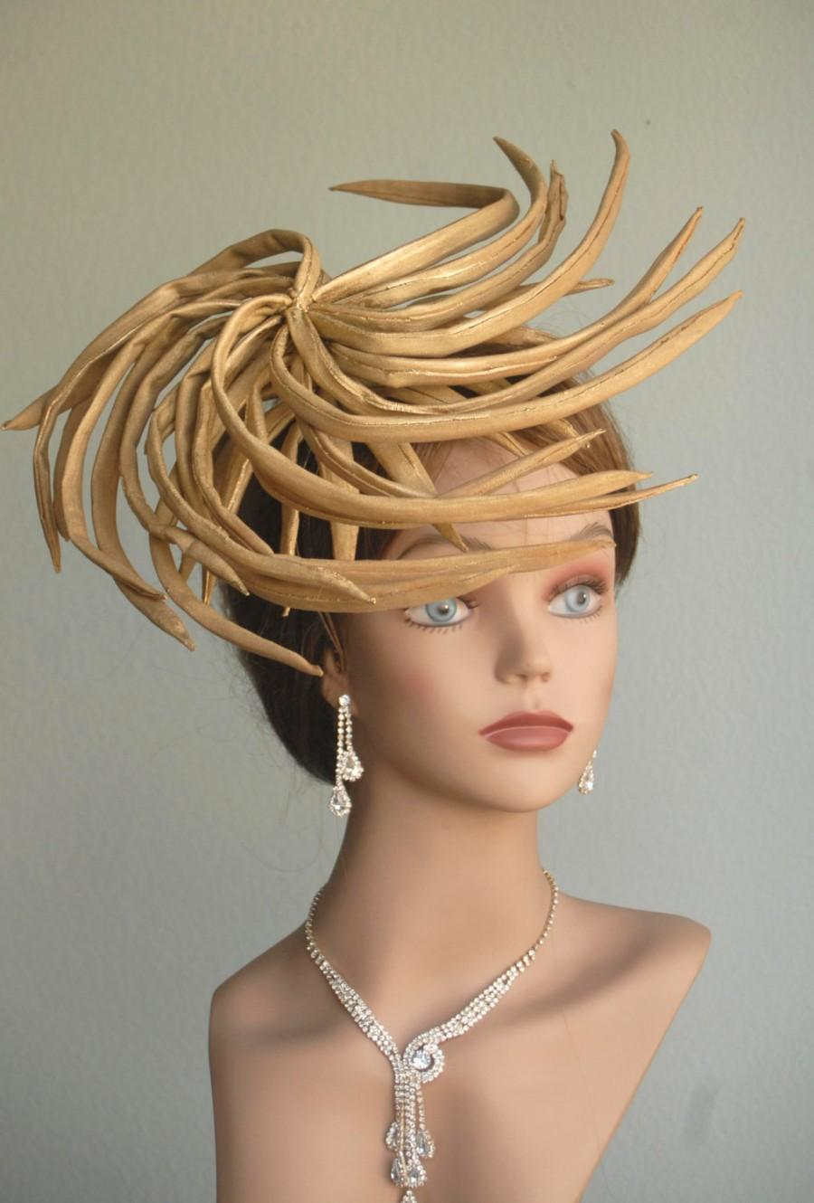 Kentucky Derby Hat Fascinator Tail Gold Head Piece Headband Bridal Coctail Couture