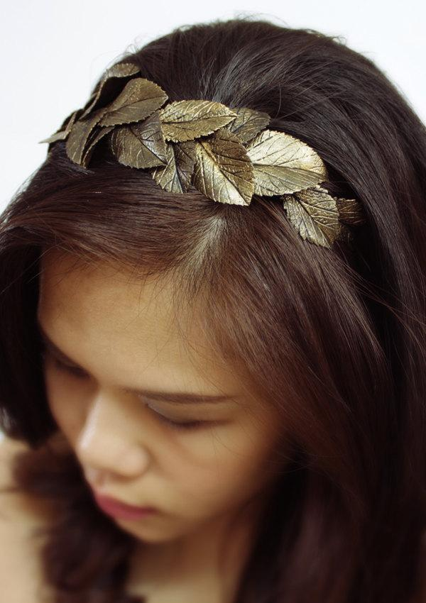 Mariage - gold leaf headband, handmade by polymer clay, country sweet girl