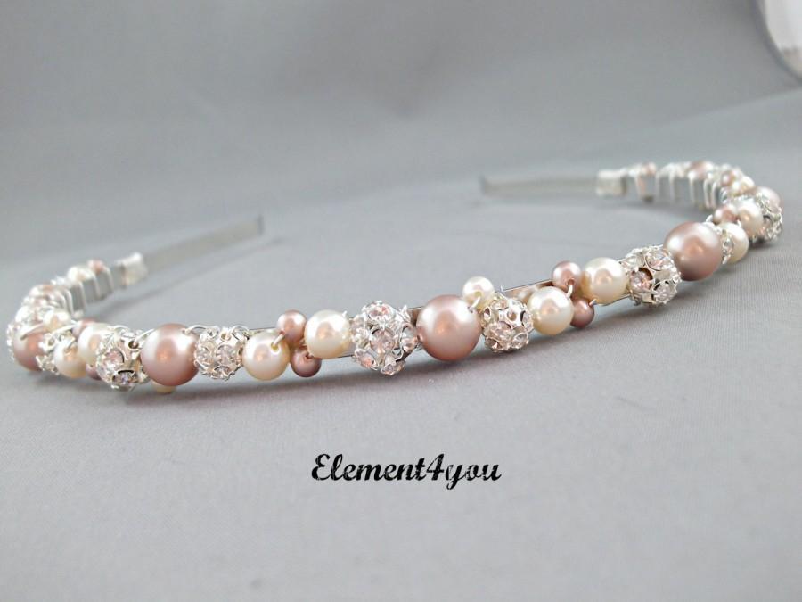 e293f0663f208b Swarovski Pearls rhinestone Balls Bridal Tiara Headband Champagne Ivory  peach mix Beaded Silver Metal Hair Flower girl Wedding accessories