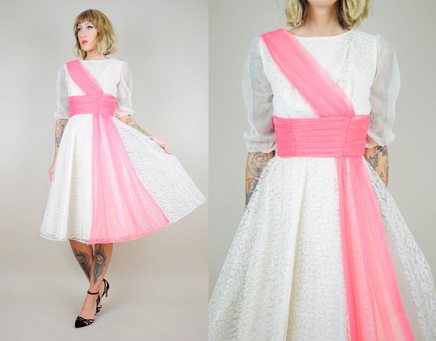 Wedding - ON SALE • LACE 50's Party Sheer full circle skirt Formal Dress Bombshell Pink Sash Mesh Tuxedo xs
