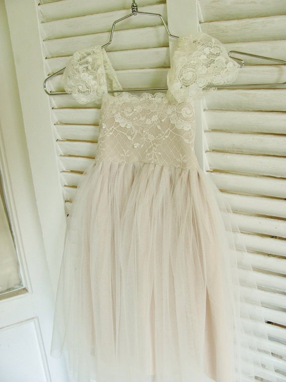 Hochzeit - Magic Orchid French lace and silk tulle dress ivory colour over champagne lining