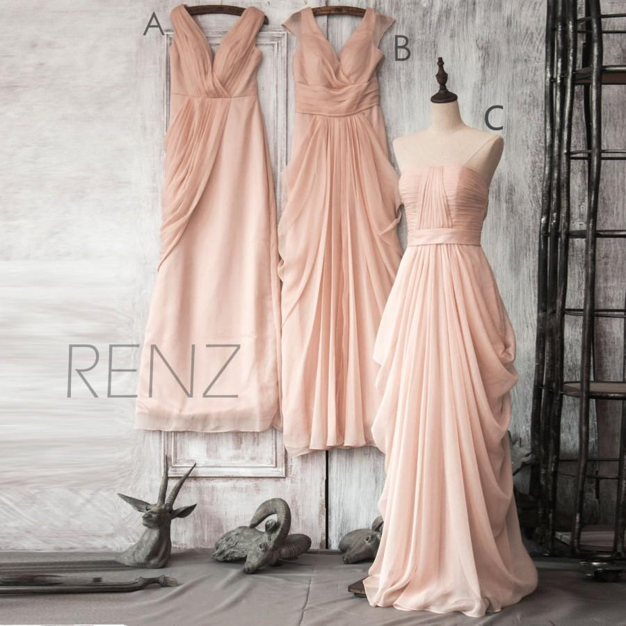 2015 peach chiffon bridesmaid dress peach floor length