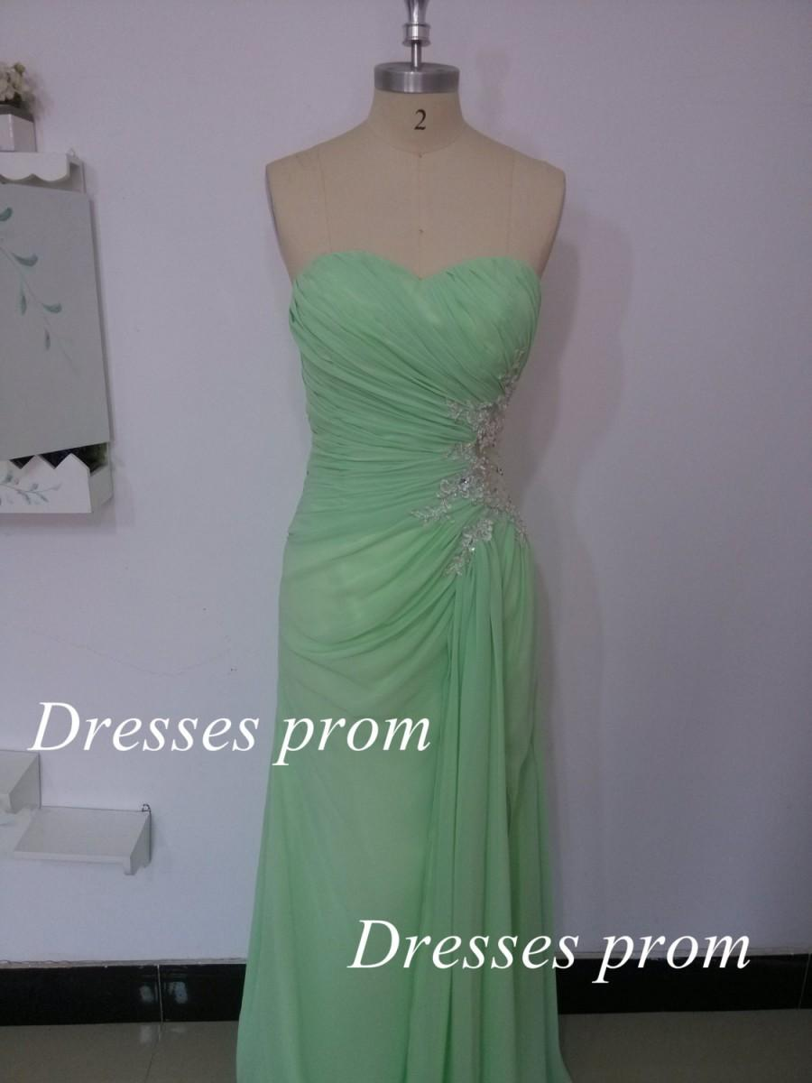 Wedding - Mint Long Prom Dresses, Custom Mint Strapless Crystal and Chiffon Long Formal Gown, Strapless Sweetheart Mint Long Prom Gown