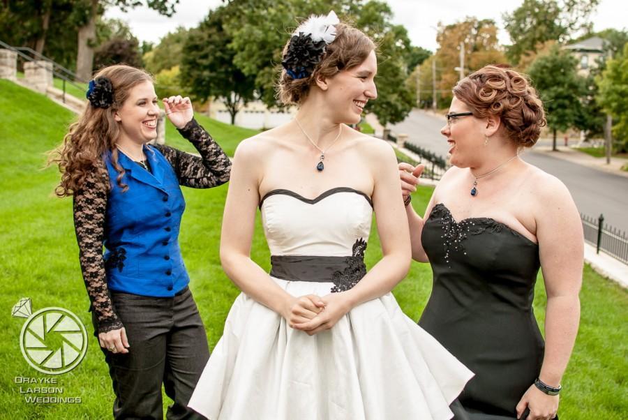 Wedding - Short Flirty Wedding Dress - Jenna Dress - Black White Bridesmaid Retro- Lace, Tulle and Silk -Choose Colors- Custom To Order