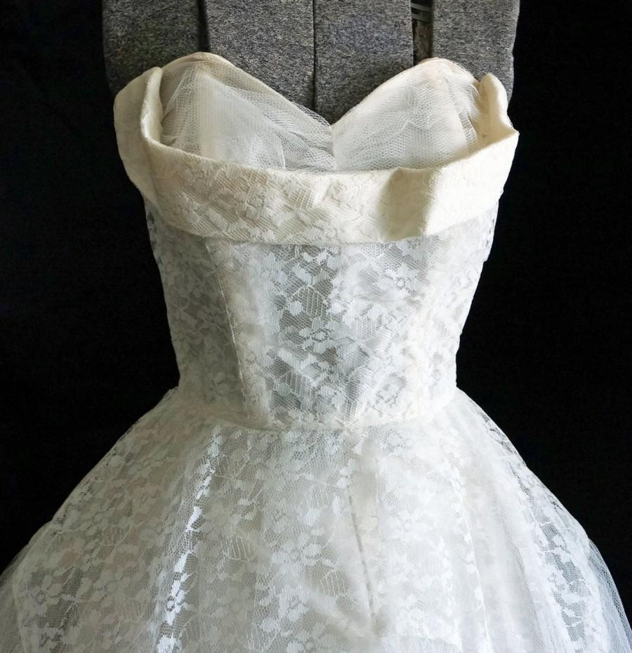 Wedding - 1950s Womens Ivory Tulle Lace Cuffed Boduce 2 Pc Wedding Dress Sz 2 Vintage Retro Glam