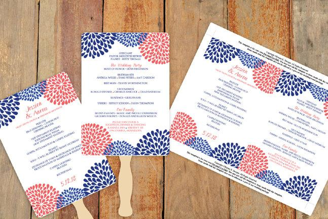 Hochzeit - DiY Wedding Fan Program Template - DOWNLOAD Instantly - EDITABLE TEXT - Chrysanthemum (Navy, Blue & Coral) 5 x 7 - Microsoft® Word Format
