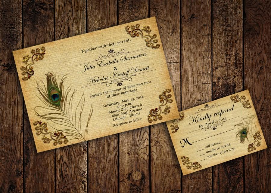 Digital Wedding Invitation Ideas: Printable Peacock Wedding Invitation Suite With RSVP Cards