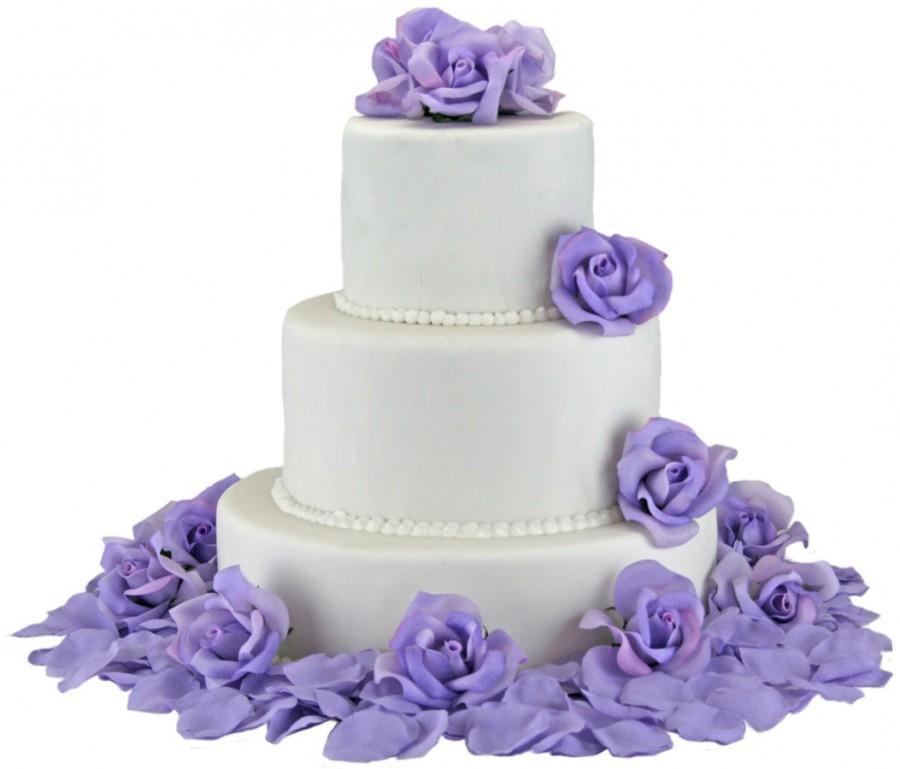 Wedding - Lavender Silk Rose Cake Flowers