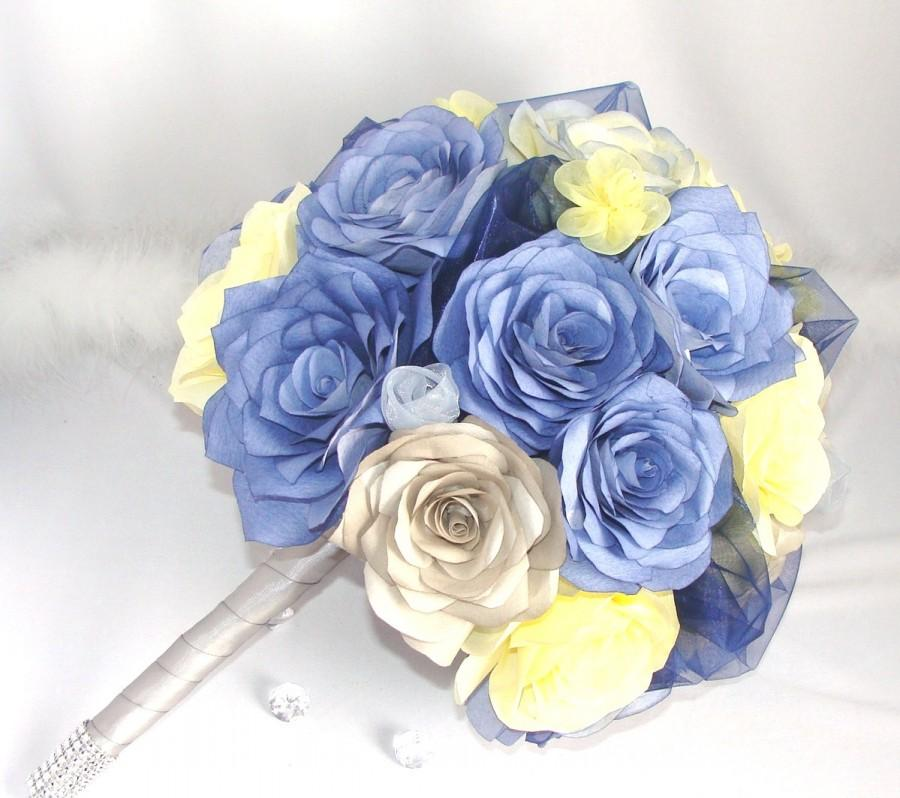 Свадьба - Navy blue, grey and yellow Handmade paper Rose bridal bouquet, Artificial Wedding bouquets, Alternative, unique and everlasting bouquets