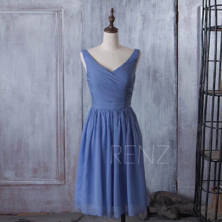 Hochzeit - 2015 Slate Blue Bridesmaid dress, Tea length Wedding dress, Chiffon Party dress, Formal Dress, Short Prom dress, Evening dress (B059A)