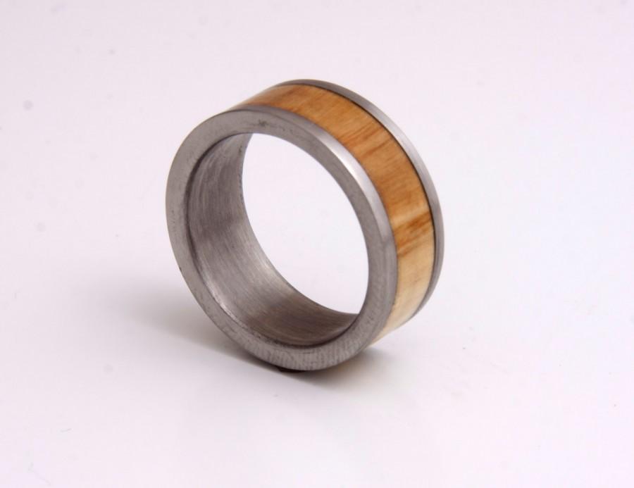 Mariage - titanium wood ring olivewood inlay wedding ring mens ring