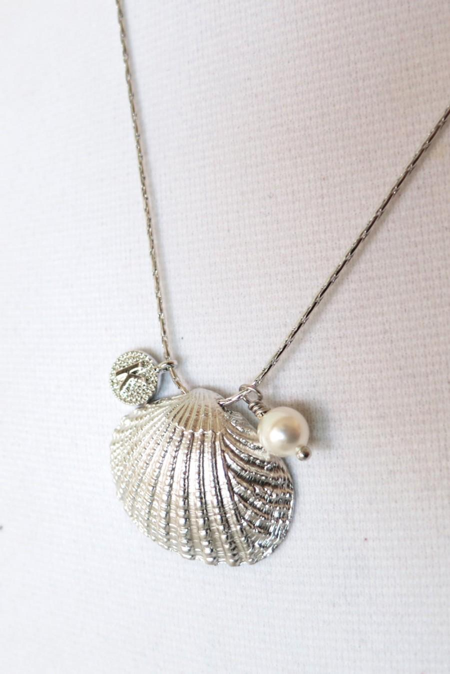 Mariage - Cockle Shell - Silver cockle Sea Shell necklace, personalised gift for her, sea lover, beach wedding party, bridesmaid necklace, Oceanic