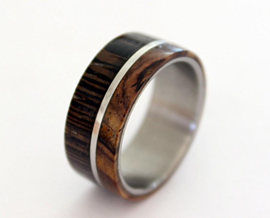 Свадьба - Stainless steel ring with wenge and cocobolo wood inlay off-center style