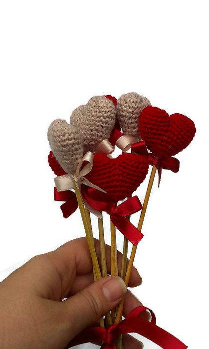 Свадьба - Crochet Heart Red Heart Vase Decor Home Decor Birthday Table Decoration