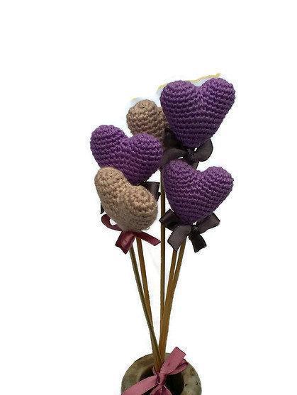 Свадьба - Lavender Color Decorative Heart Crochet Heart Bouquet Crochet Wedding Ggift Wedding Decoration