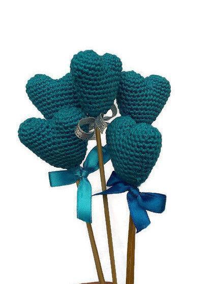 زفاف - Turquoise Color Hearts Crochet Wedding Decoration Party Decoration Crochet