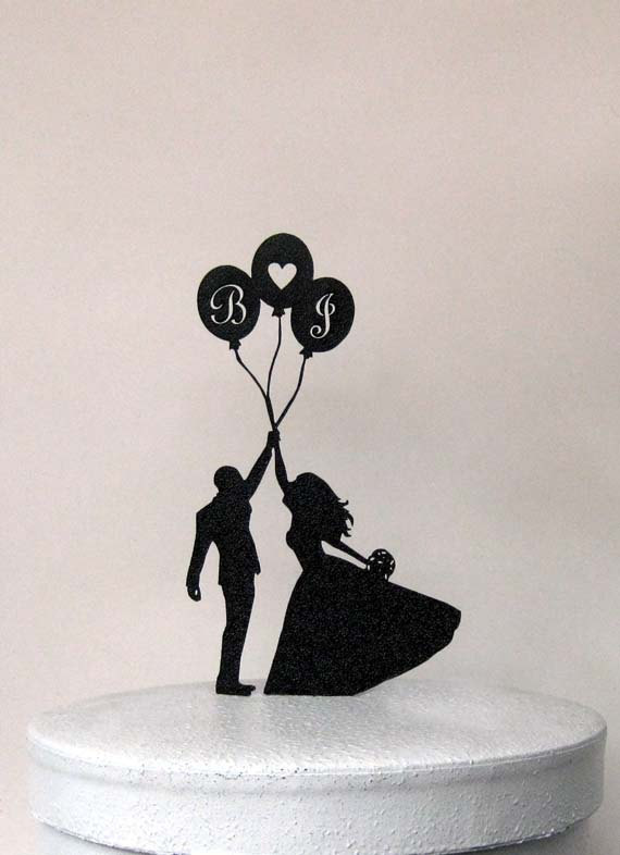 Mariage - Custom Wedding Cake Topper - Balloon Wedding with personalized initials