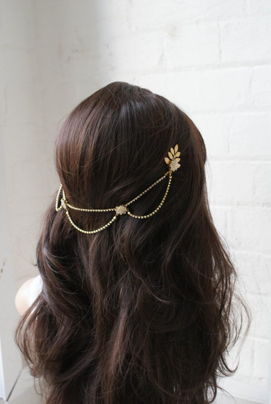 Mariage - Bridal Headpiece - 1920s wedding Headpiece - Bohemian Bridal Accessory- Gold-tone headpiece with drapes