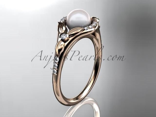Wedding - 14kt rose gold diamond floral wedding ring, engagement ring AP126