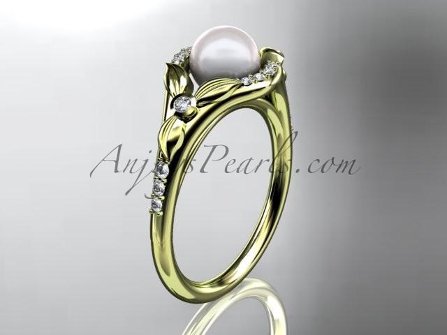 Mariage - 14kt yellow gold diamond floral wedding ring, engagement ring AP126