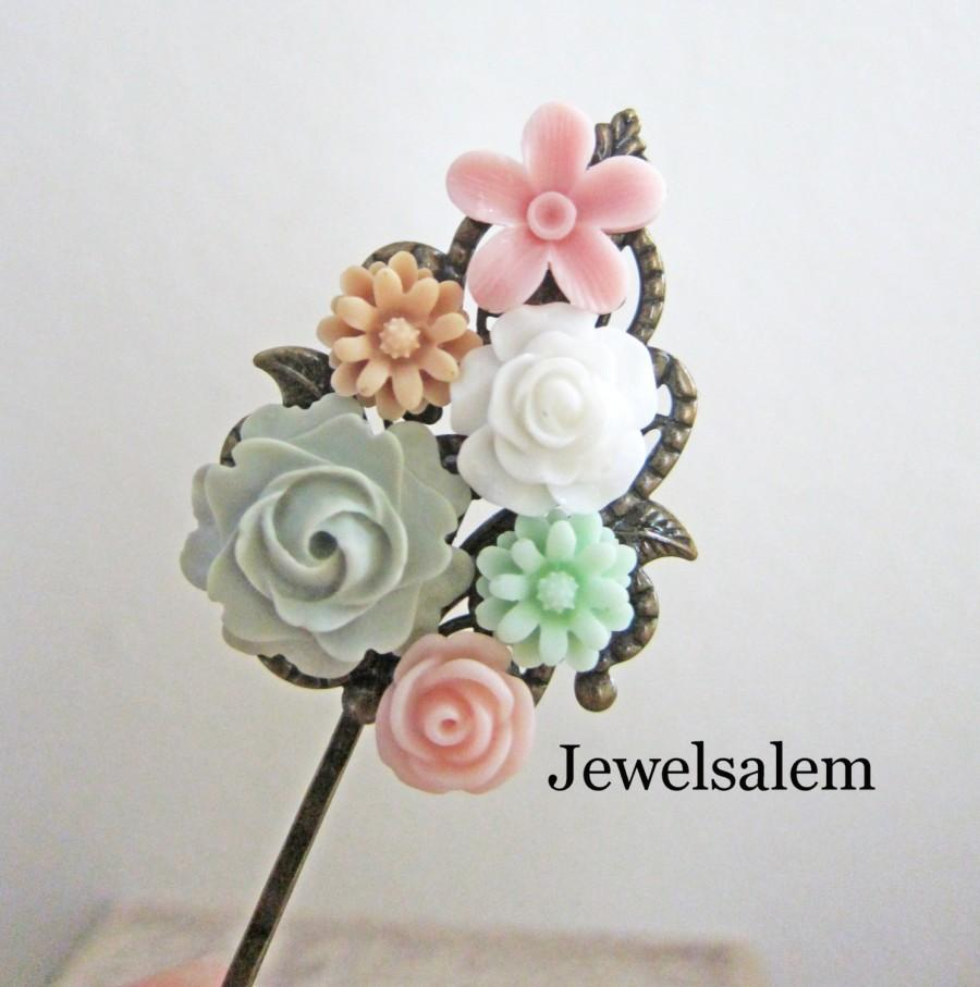Mariage - Pink and Mint Green Hair Clip Bridal Flower Girl Hair Pin Floral Pastel Wedding Hair Accessories Powder Pink Peach Sage Green Bridesmaids
