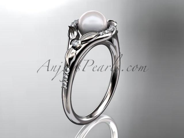 Wedding - Platinum diamond floral wedding ring, engagement ring AP126