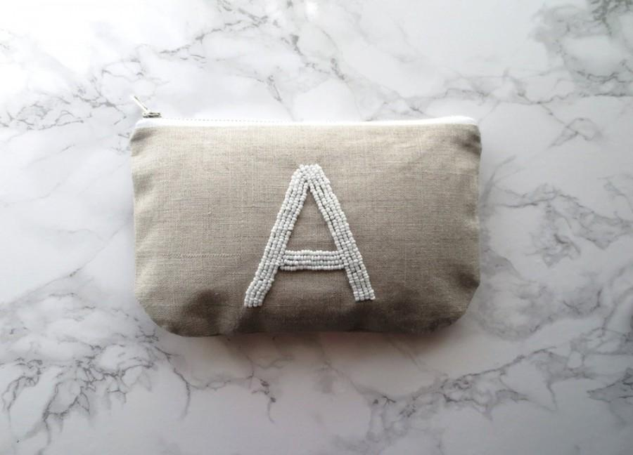 Customized Initial Clutch Bridesmaid Wedding Gift Personalized