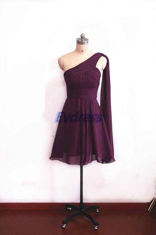Short Eggplant Chiffon Bridesmaid Dresses,cheap Bridesmaid Gowns ...