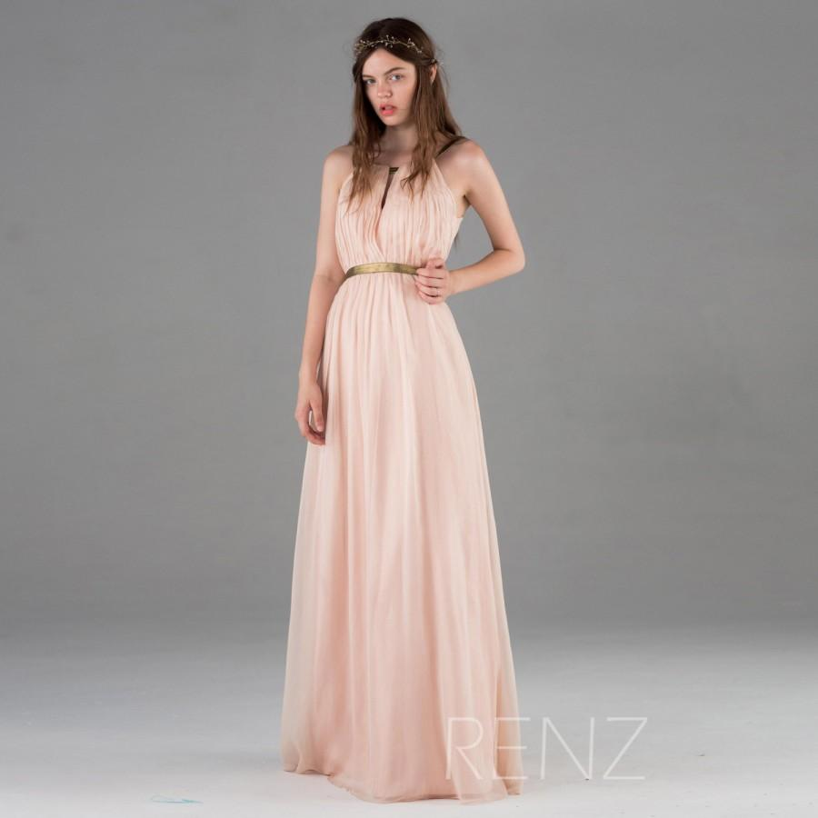 Boda - 2015 Peach Bridesmaid Dress, Blush Pink Prom Dress, Long Chiffon Wedding Dress, Formal Dress,Party Dress Floor Length (F066A1)-Renzrags