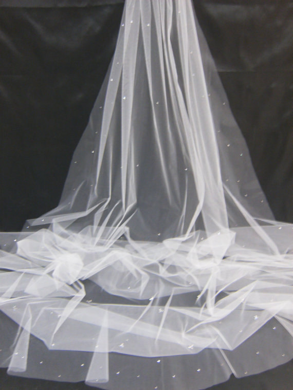 Mariage - Starry night Crystal Rhinestone  Long Cathedral Length Veil available in different color-different length