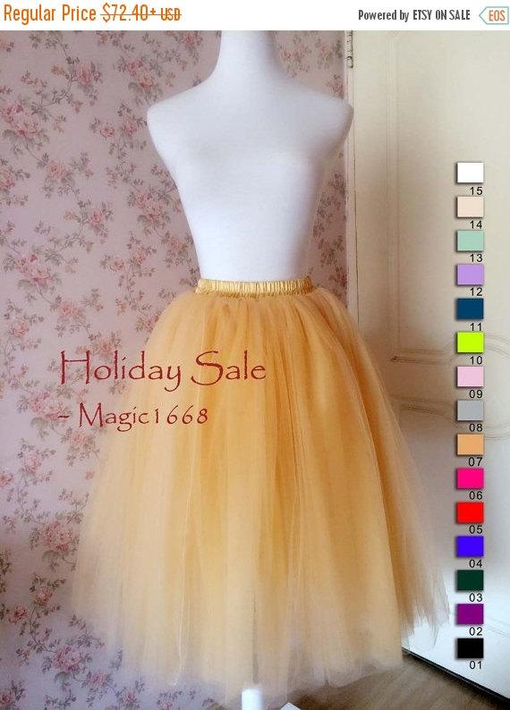 Adult Tulle Skirt /Women Tea Length Tutu Skirts /Elastic ...