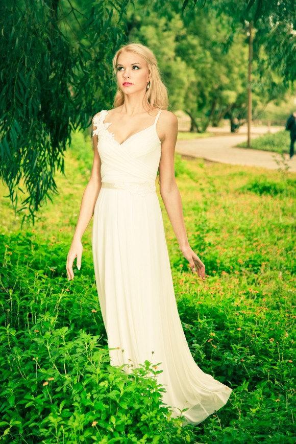 زفاف - SALE- Boho wedding dress, Romantic wedding dress , backless  wedding dress, beach wedding dress
