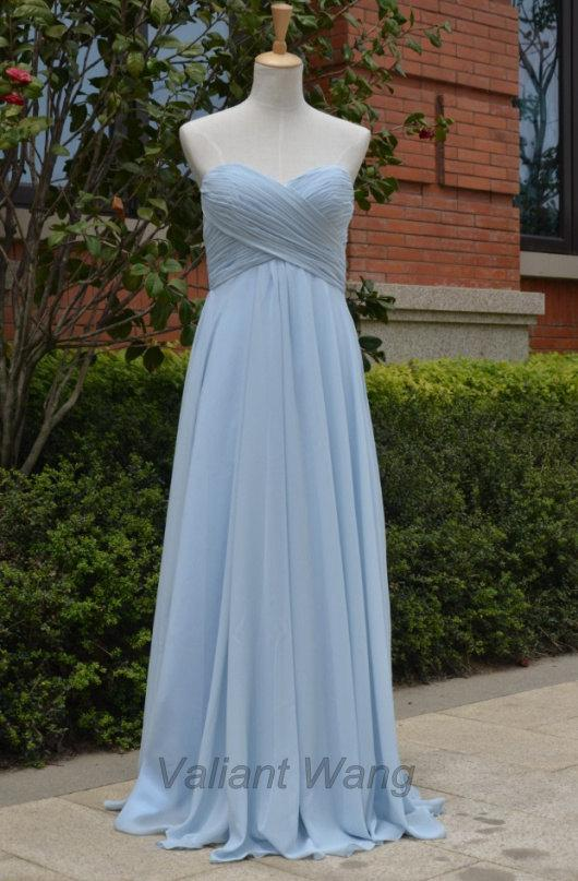 Light/Grey Blue Chiffon Sweethearts Bridesmaid Dress Long Prom ...