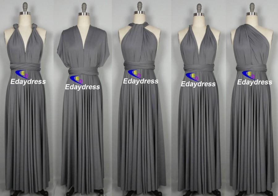 517451c03033 Maxi Full Length Bridesmaid Dark Gray Infinity Dress Convertible Wrap Dress  Multiway Long Dresses