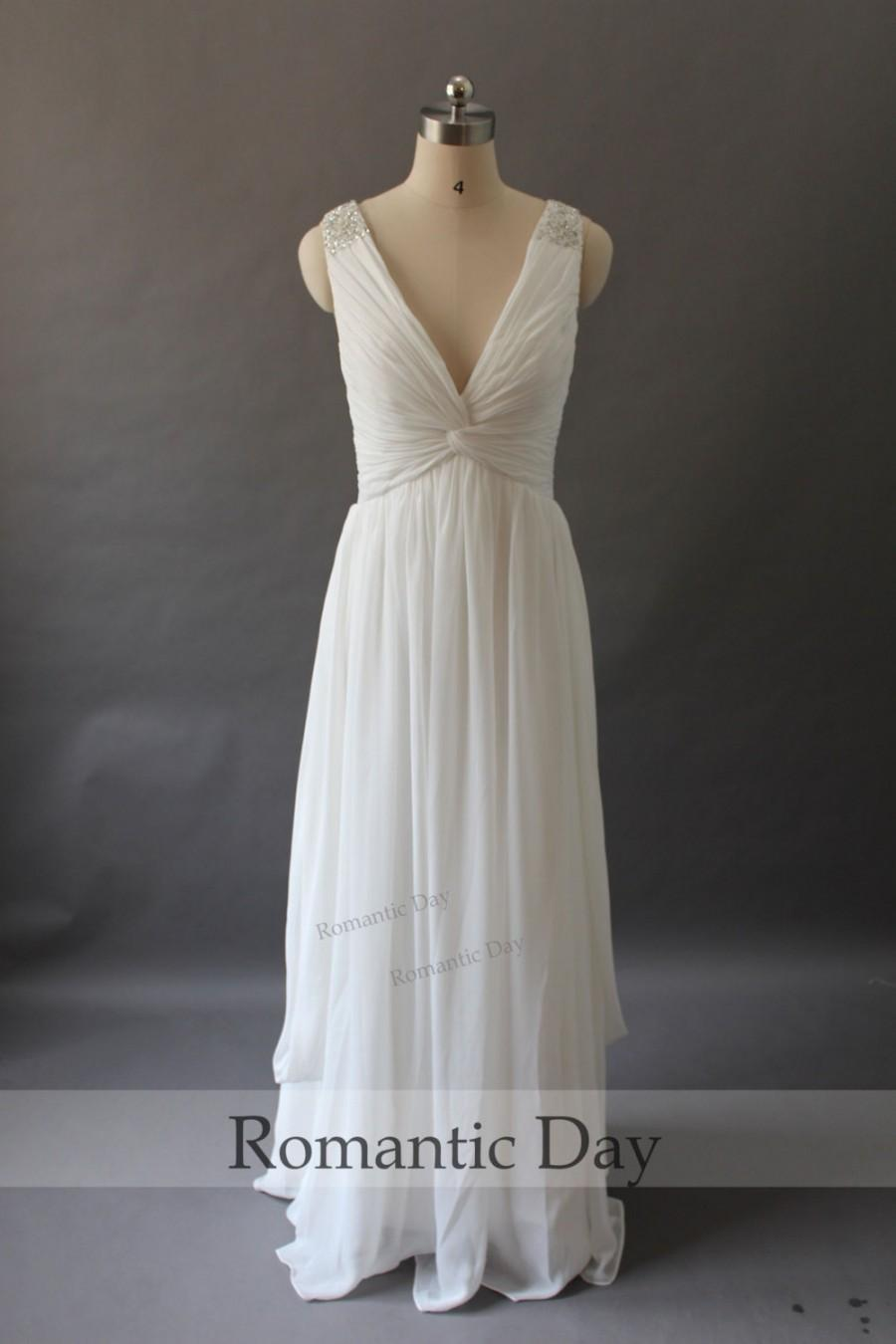 Simple elegant deep v neck white chiffon beach wedding for Elegant wedding party dresses