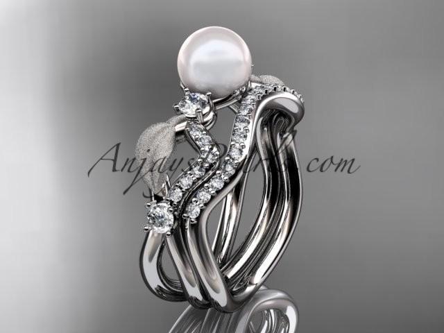 Mariage - platinum diamond pearl leaf engagement set AP68S