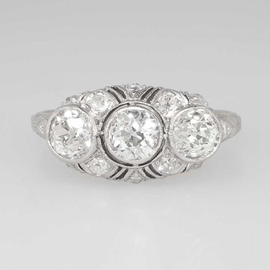 Mariage - Elaborate 2.59ct t.w. Edwardian Old European Cut Diamond Filigree Anniversary Engagement Ring Platinum