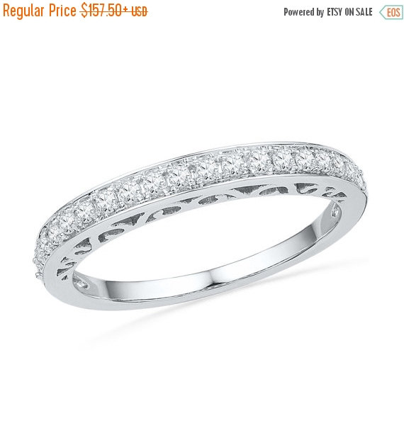 Hochzeit - Holiday Sale 10% Off Sterling Silver or White Gold Ring, 1/4 CT. T.W.  Diamond Wedding Band
