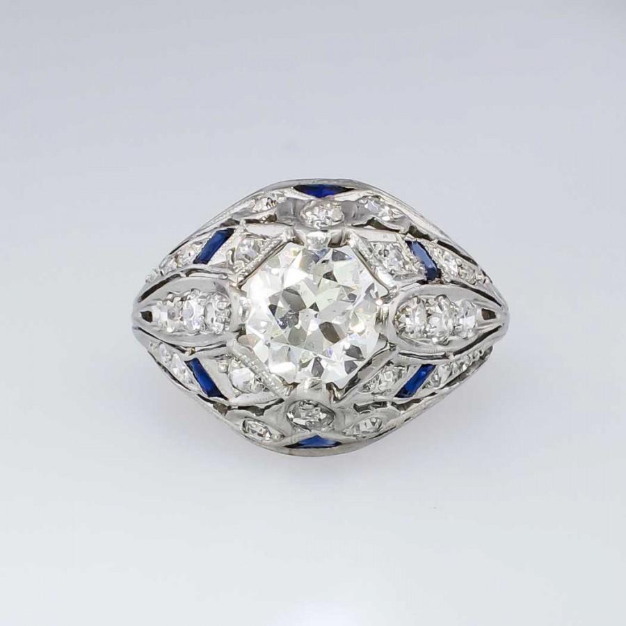 Authentic Intricate Art Deco Old European Cut Diamond Engagement Ring Platinu