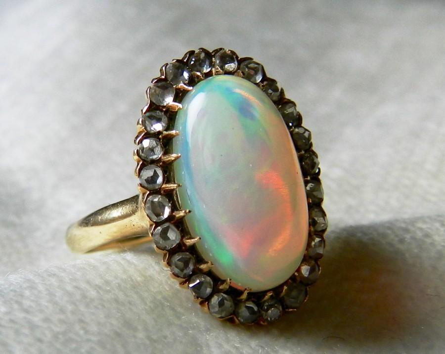 Opal Ring 14K 3 5 Ct Opal And Diamond Ring Art Deco Opal Engagement Ring Rose